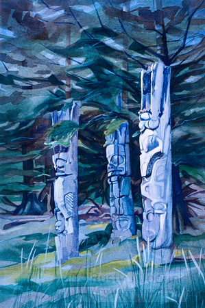 Three Poles Ninstints-Haida Gwaii